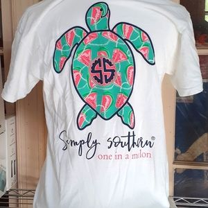 Simply Southern one in a melon turtle shirt small